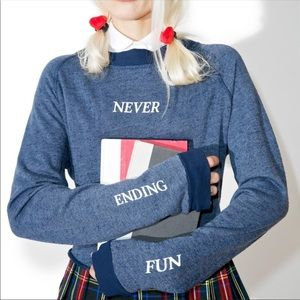 NWT Wildfox never ending fun crop pullover sweater